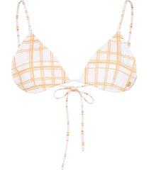 ambra maddalena gigi checked triangle bikini top - white