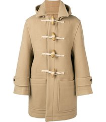 ami patched pockets shearling-trimmed duffle coat - neutrals