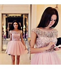 ball gown sweetheart pink tulle short cocktail dress evening dress,prom dress