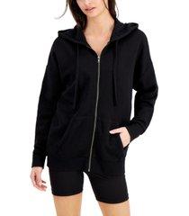 hippie rose juniors' oversized zip-front hoodie