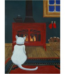 "jan panico 'mittens warming by the fire' canvas art - 14"" x 19"""
