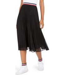 tommy hilfiger metallic pleated midi skirt