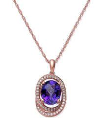amethyst (1-5/8 ct. t.w.) & diamond (1/5 ct. t.w.) pendant necklace in 14k rose gold