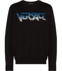 versace speed logo crystal-embellished sweatshirt - black
