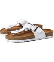 white casual toe post buckle design slippers