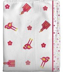 cobertor incomfral coelinha para beb㪠70 x 90cm branco/rosa - branco - dafiti