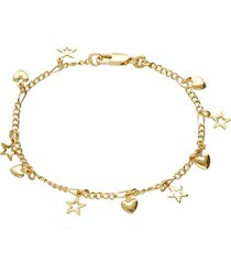 bracciale placcato oro con cuori e stelle pendenti per donna