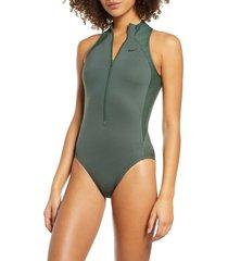 women's nike zip front one-piece swimsuit