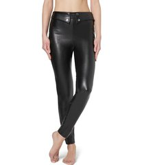calzedonia leather-look leggings with detail at the waist woman black size xl