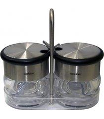 conjunto brinox 2 peças porta condimentos com colher prata - tricae
