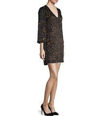 riska embellished paisley jacquard shift dress