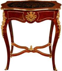 mesa lateral luis xv de madeira com marchetaria