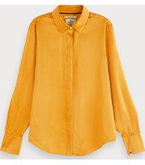 scotch & soda oranje zijden blouse