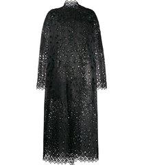 biyan silk embroidered coat - black