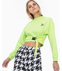 tech clash sweater voor dames, groen, maat s | puma