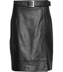mina leather wrap skirt kort kjol svart just female
