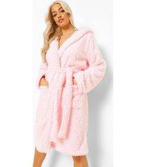 nepwollen fleece pyjama top met capuchon, pink