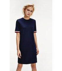 vestido corto con cinta distintiva azul tommy hilfiger