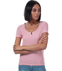 only womens bella placket stripe t-shirt size 10 in white