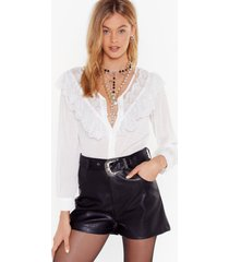 womens lace blouse with v-neckline - white