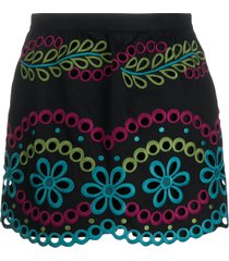 redvalentino embroidered skorts - black