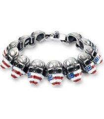 andrew charles by andy hilfiger men's enamel skull bracelet in stainless steel