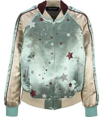 undercover graphic-print panelled bomber jacket