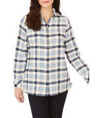 foxcroft journey brushed plaid shirt, size 8 in denim blue at nordstrom