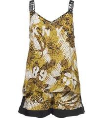 dkny rooftop readytank & boxer set pyjama geel dkny homewear