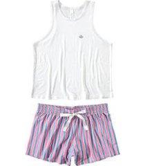 pijama curto com robe malwee liberta feminino