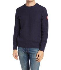 men's canada goose paterson merino wool crewneck sweater, size small - blue