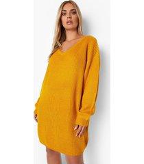 plus geribbelde trui jurk met v-hals, mustard