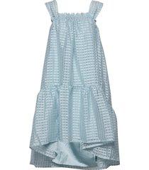 serena, 864 gingham poly jurk knielengte blauw stine goya