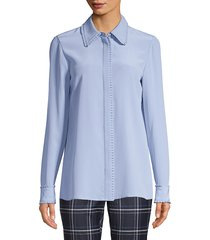 lafayette 148 new york duvall pleated-trim silk blouse - french blue - size xs