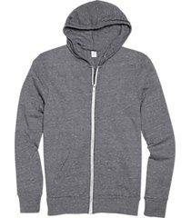 alternative apparel gray modern fit full zip eco jersey hoodie