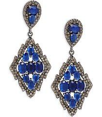 black rhodium-plated sterling silver, kyanite & diamond drop earrings