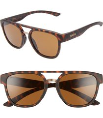 women's smith agency 54mm chromapop(tm) polarized flat top sunglasses - matte tortoise/ brown