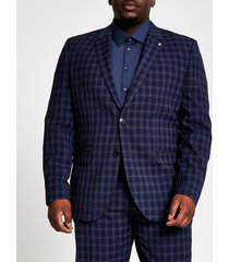 river island mens big and tall navy check slim fit suit jacket