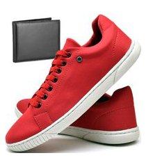 kit tênis sapatênis casual fashion com carteira dubuy 940el vermelho