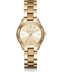 michael kors mini slim runway gold tone womens watch