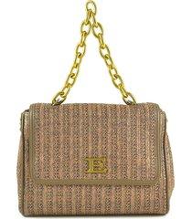 ermanno scervino brown woven fabric gloria medium flap shoulder bag