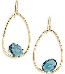18k yellow gold & london blue topaz drop earrings