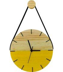 relã³gio de parede adnet minimalista amarelo com alã§a + pendurador - amarelo - dafiti