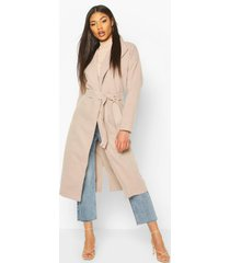 oversized wide collar robe coat, stone