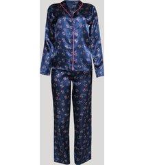pijama feminino acetinado estampado floral manga longa azul marinho