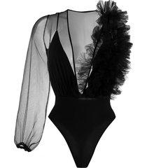 alchemy asymmetric sheer bodysuit - black