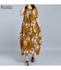 2017 zanzea o las mujeres con cuello de manga corta ocasional de la camisa floja vestido floral retro imprimir vestido largo del vestido kaftan más el tamaño l-5xl (amarillo) -amarillo