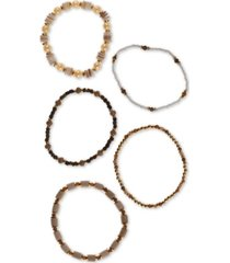 style & co gold-tone 5-pc. set multi-bead stretch bracelets, created for macy's