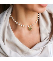 choker naszyjnik perły naturalne moneta srebro
