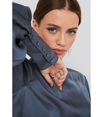 na-kd party high collar satin blouse - blue